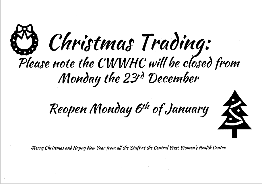 Centre Closure During the Holiday Period