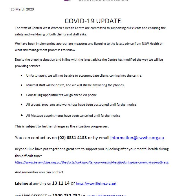 SERVICE UPDATE – COVID-19 25 March 2020
